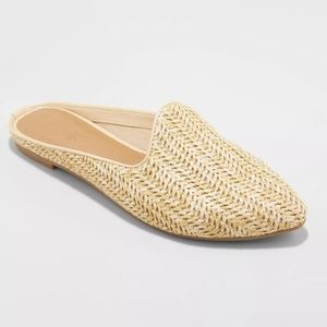 Violet Tan Neutral Woven Backless Slip on Mules